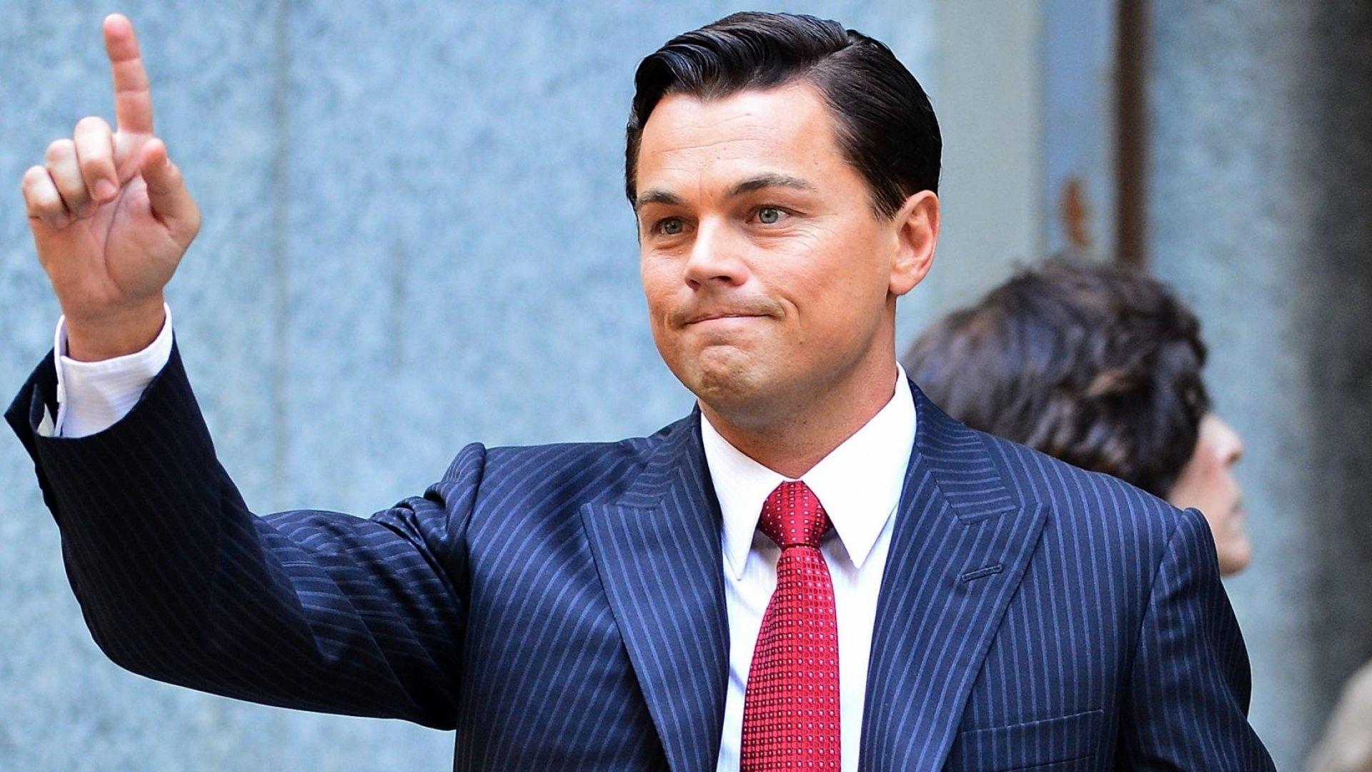 Leonardo DiCaprio in the movie <em>The Wolf of Wall Street</em>.