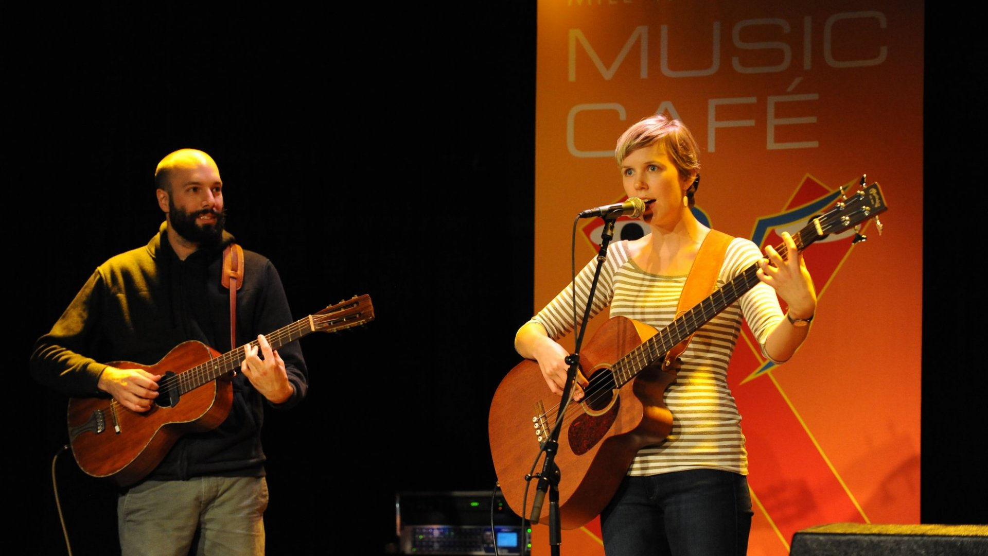 Patreon's Jack Conte, left, and Nataly Dawn, performing as Pomplamoose.