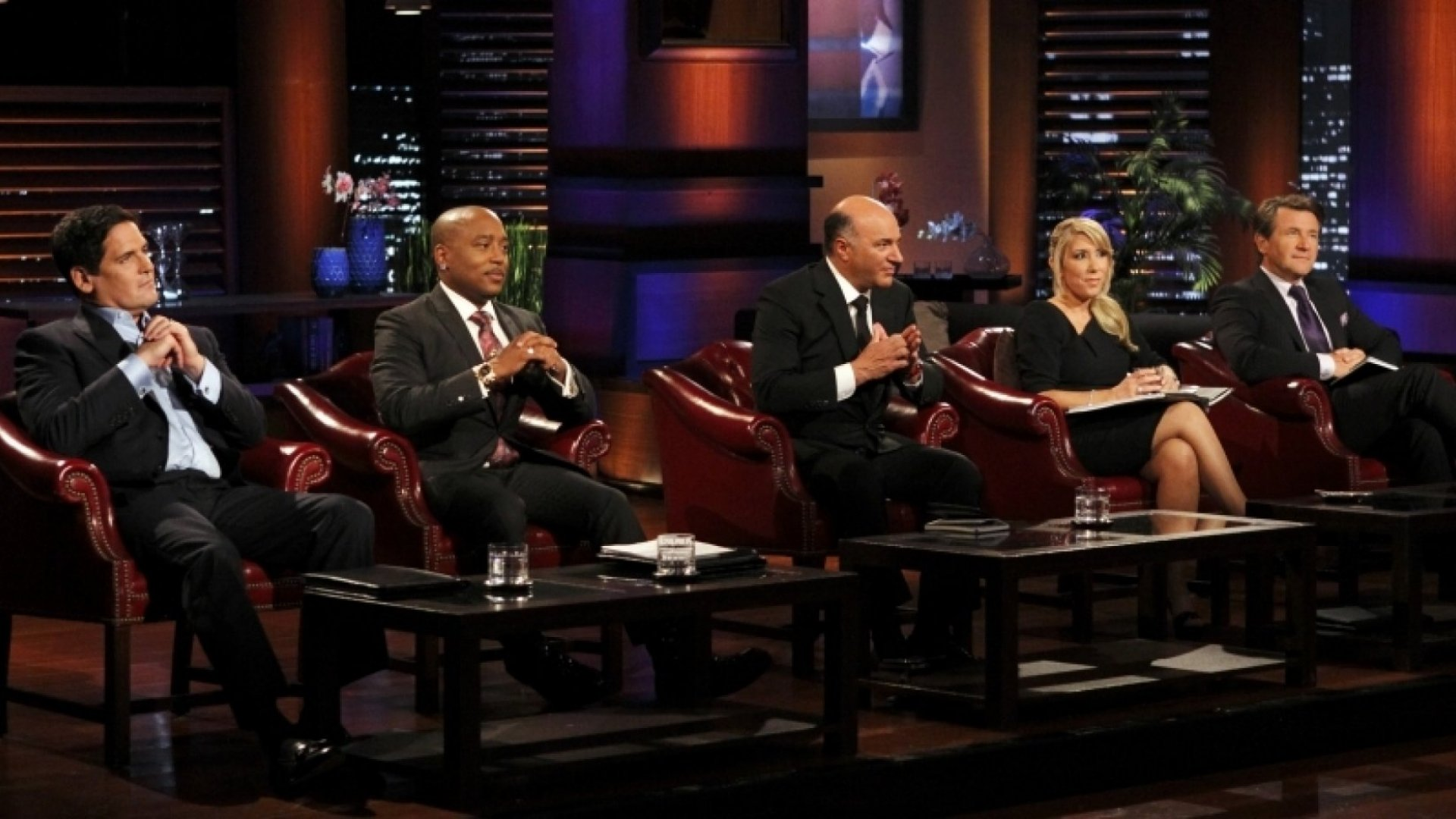 Mark Cuban, Daymond John, Kevin O'Leary, Lori Greiner, and Robert Herjavec on <em>Shark Tank</em>.