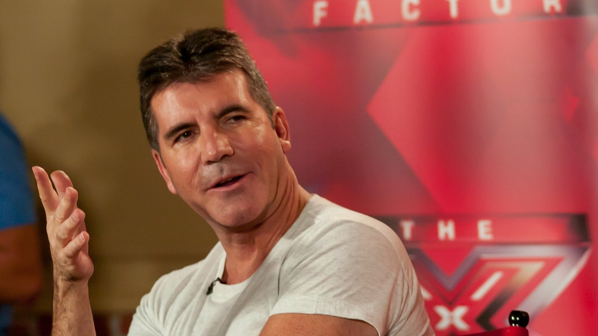 Simon Cowell attends the<em> X Factor</em> press conference at Nassau Veterans Memorial Coliseum in Uniondale, New York. (Photo by Steven A Henry/WireImage)