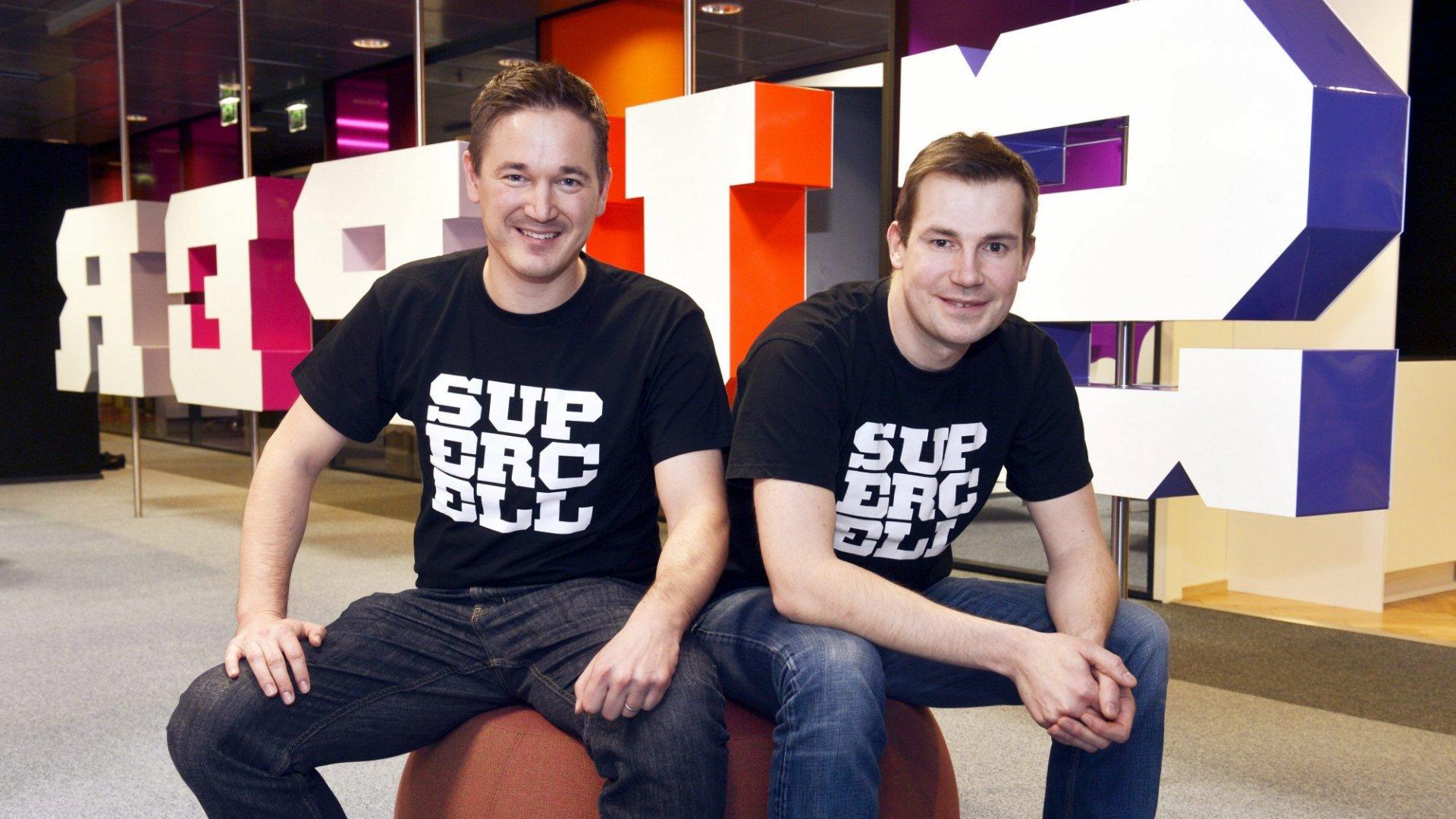 Supercell CEO Ilkka Paananen (left) and creative director Mikko Kodisoja at company headquarters in Helsinki.
