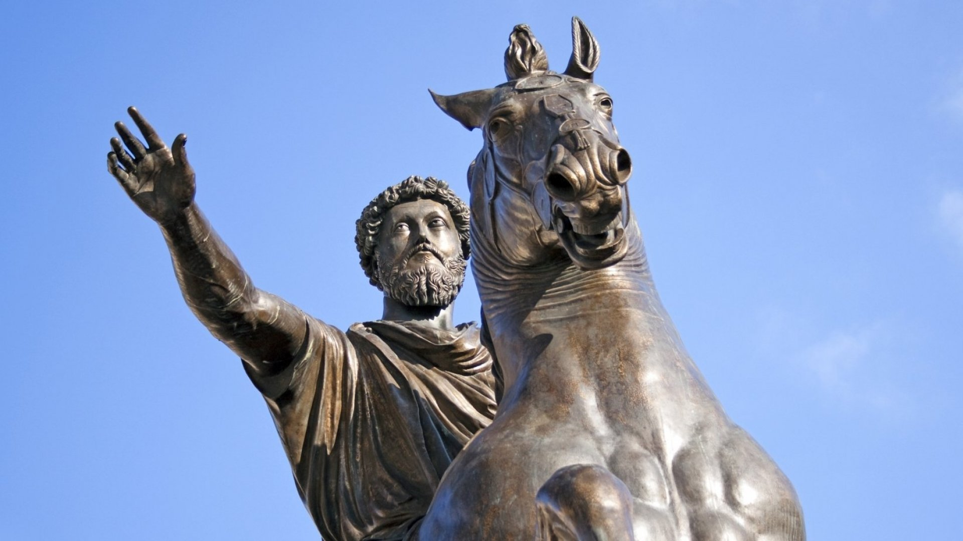 A statue of Marcus Aurelius in Rome.