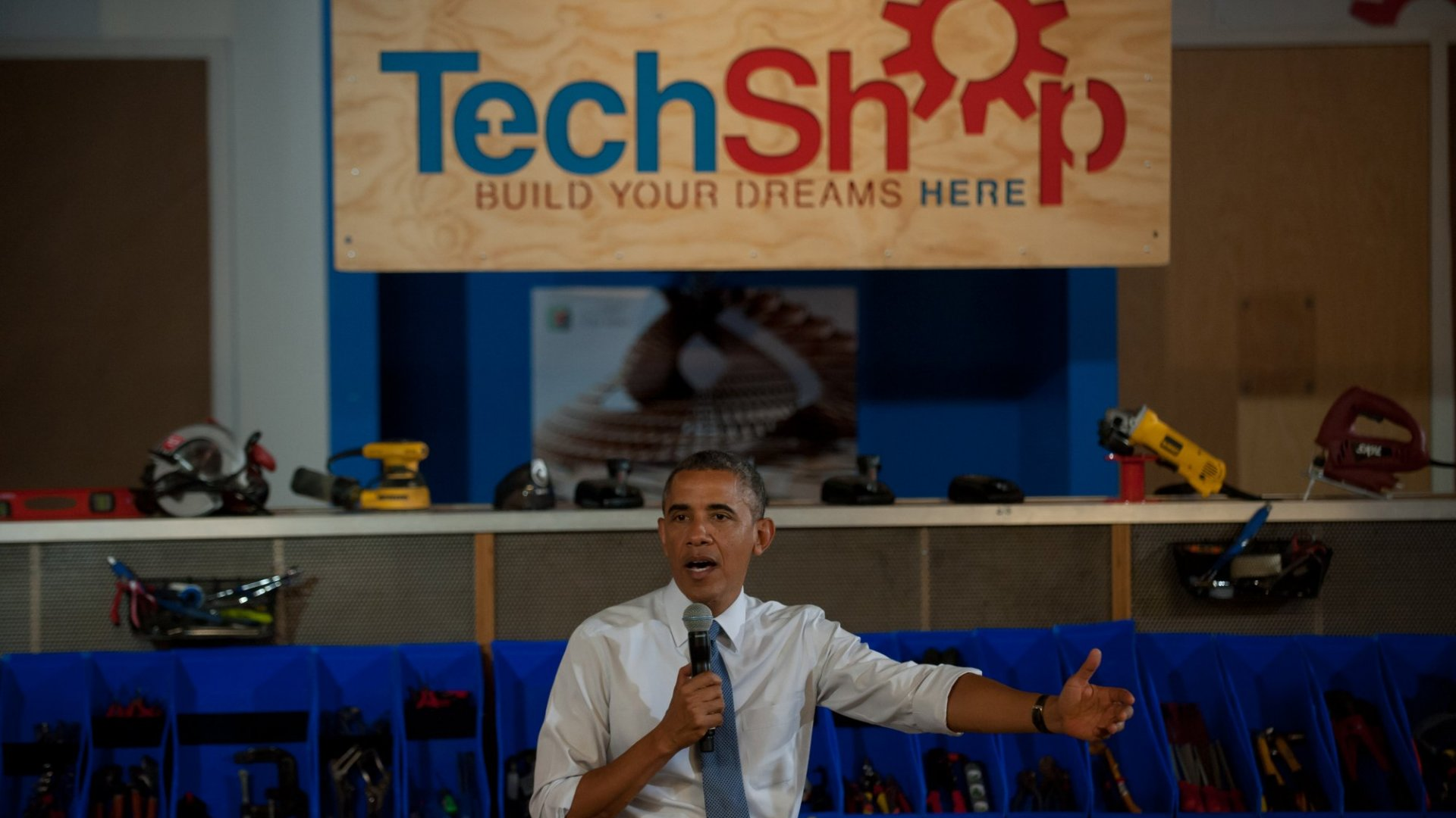 U.S. President Barack Obama speaks to a crowd at TechShop Pittsburgh about technology, innovation and entrepreneurship in manufacturing in Pittsburgh.