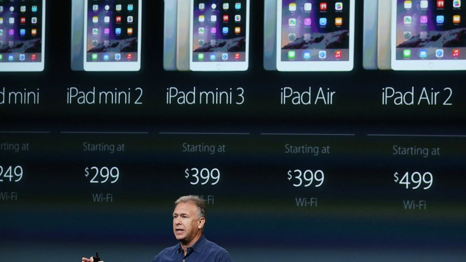 Apple Senior Vice President of Worldwide Marketing Phil Schiller announces the new iPad Air 2 during a special event on October 16, 2014 in Cupertino, California.  Apple unveiled the new iPad Air 2 tablet, iPad Mini 3 and a Retina iMac.  (Photo by Justin Sullivan/Getty Images)