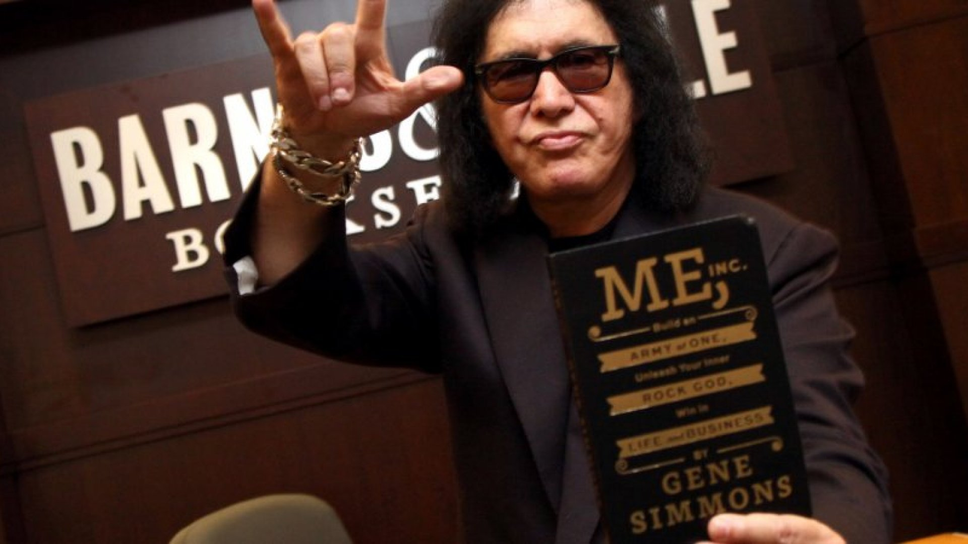 Musician Gene Simmons signs copies of his new book 'Me, Inc.' at Barnes & Noble bookstore at The Grove on October 19, 2014 in Los Angeles, California.  (Photo by Tommaso Boddi/WireImage)