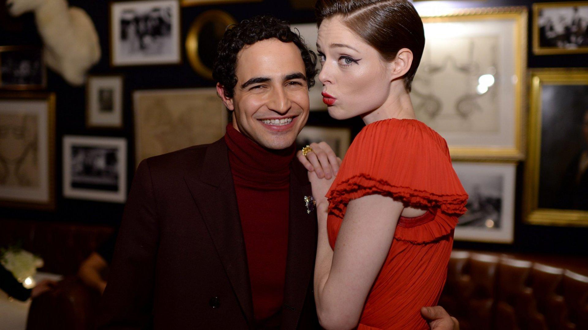 Designer Zac Posen (L) and Coco Rocha.