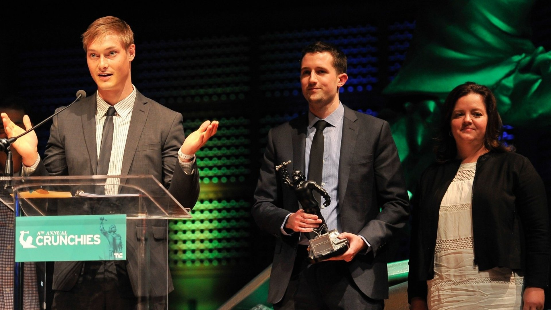 Ryan Hoover, Founder of Product Hunt (left), won Best New Startup of 2014 at the TechCrunch 8th Annual Crunchies Awards earlier this year. The hugely popular site's following helped drive its redesign. (Photo by Steve Jennings/Getty Images for TechCrunch)