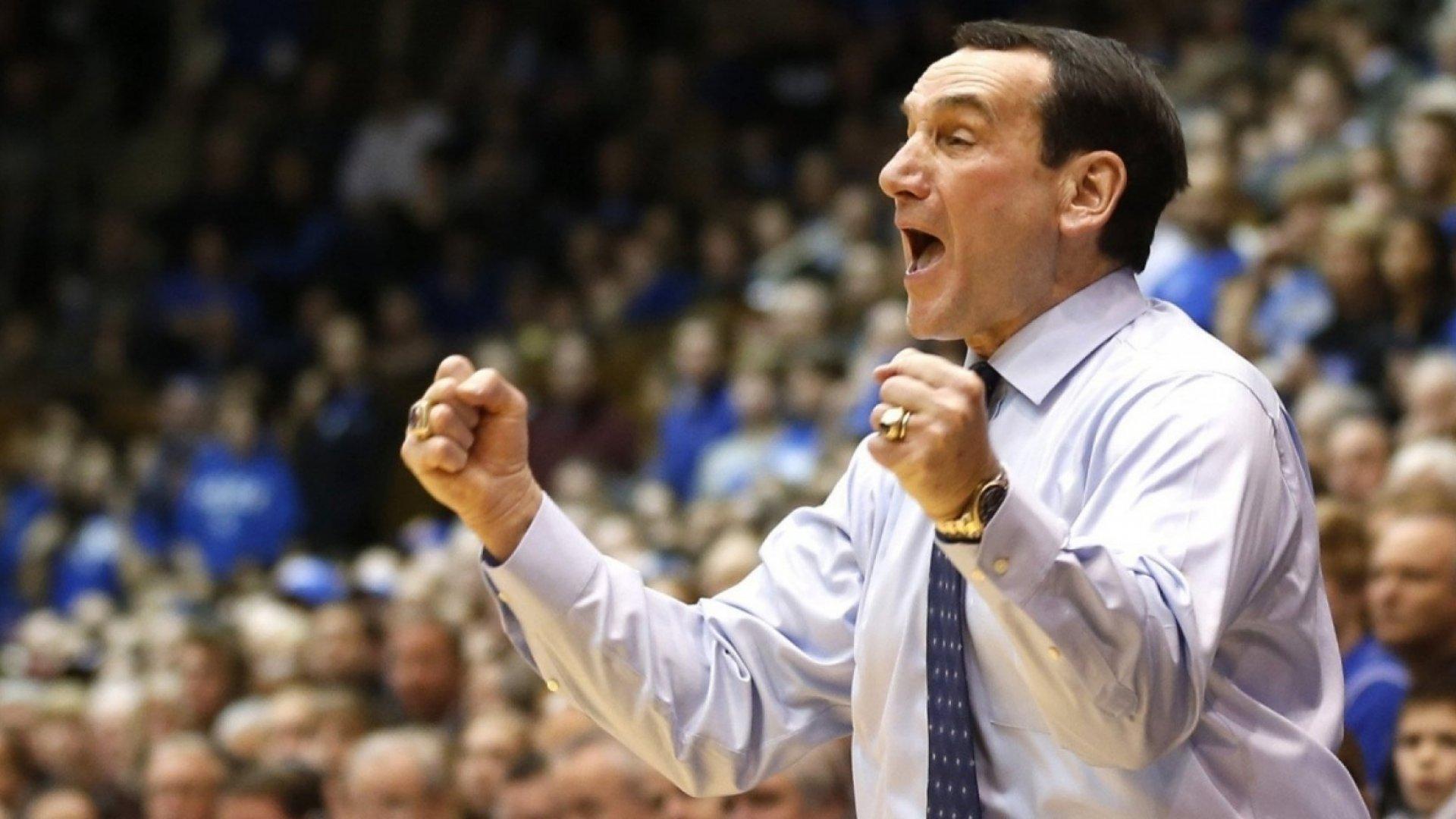 Duke head coach Mike Krzyzewski.