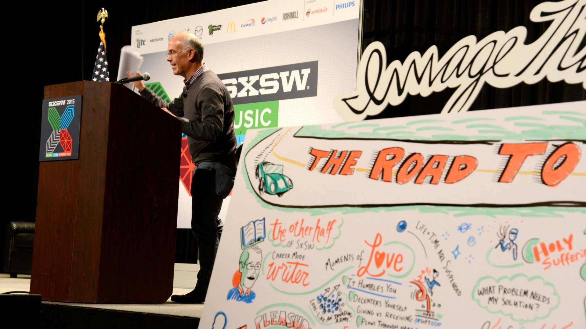 David Brooks, Op-Ed Columnist for The New York Times speaks onstage during 'The Road to Character' during the 2015 SXSW Music, Film + Interactive Festival.