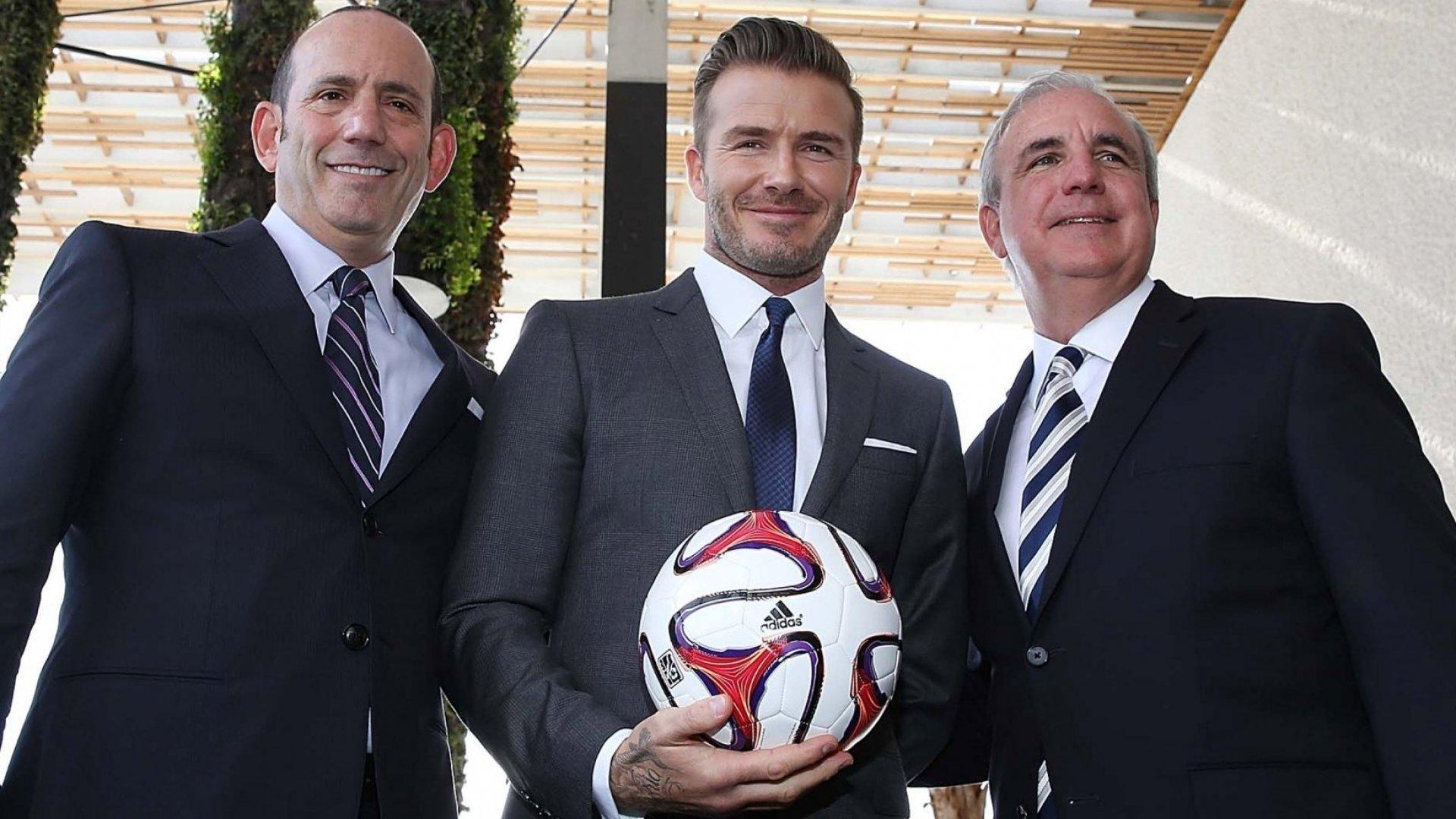 MLS commissioner Don Garber, David Beckham, and Miami mayor Carlos Gimenez.