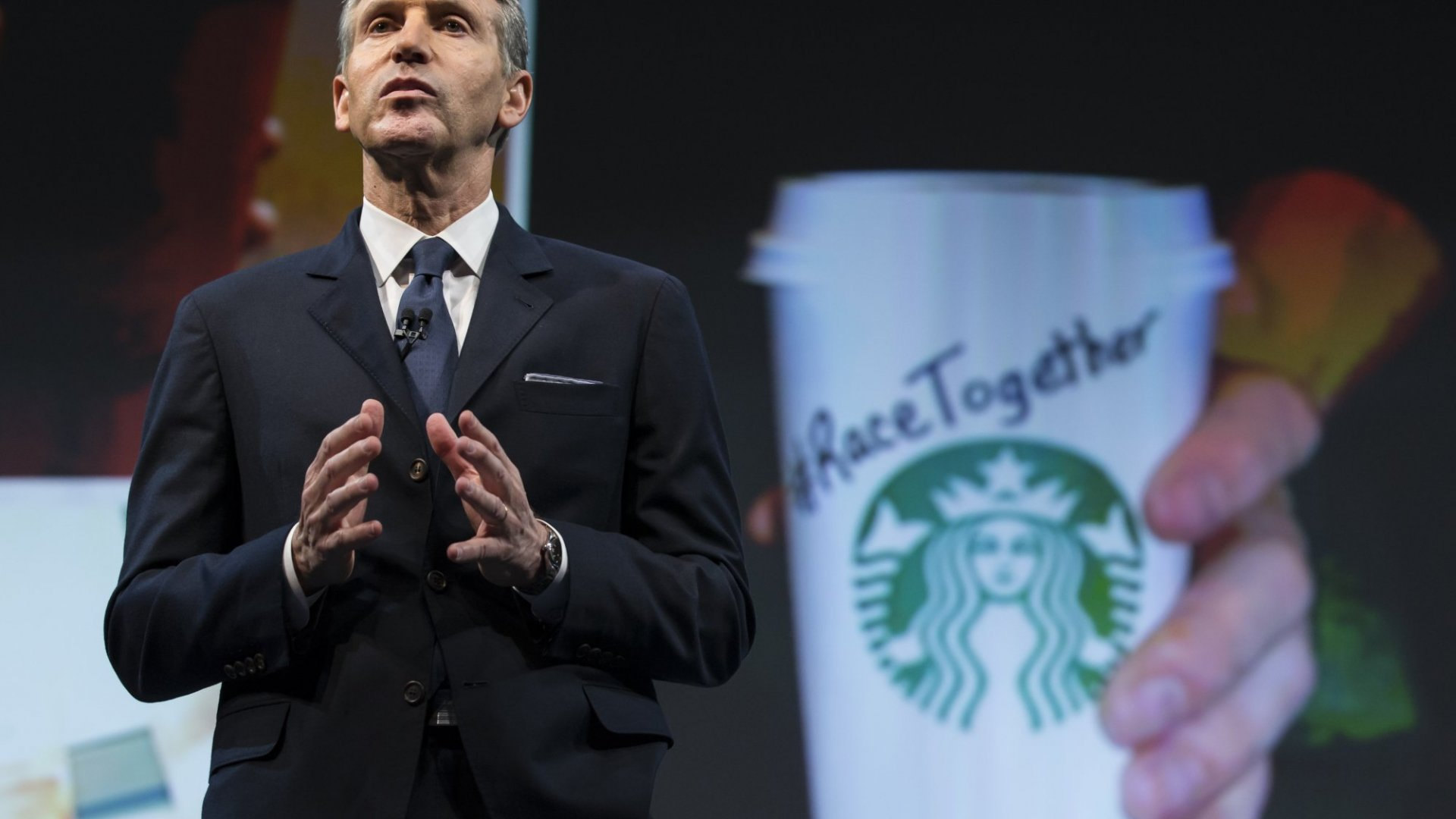 Starbucks Chairman and CEO Howard Schultz addressed the 'Race Together Program' during the Starbucks annual shareholders meeting on March 18 in Seattle. (Stephen Brashear/Getty Images)