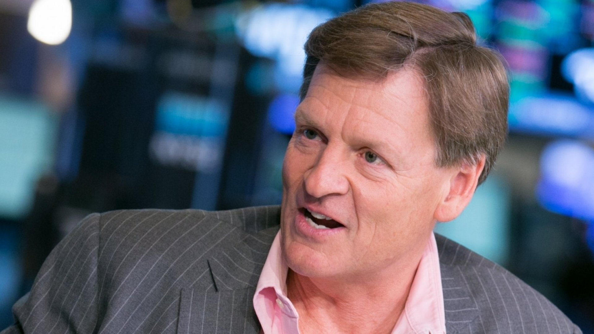 Author Michael Lewis in an interview at the New York Stock Exchange.