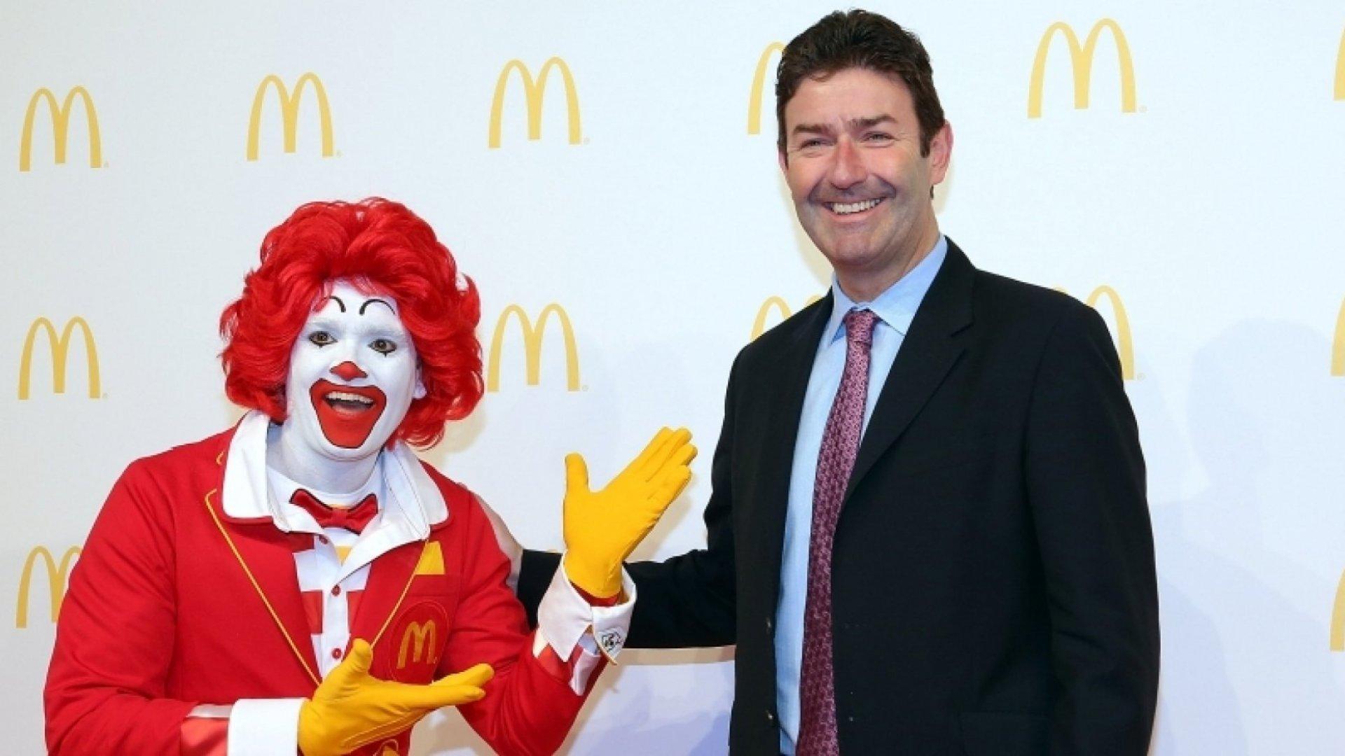 Ronald McDonald with McDonald's CEO Steve Easterbrook.