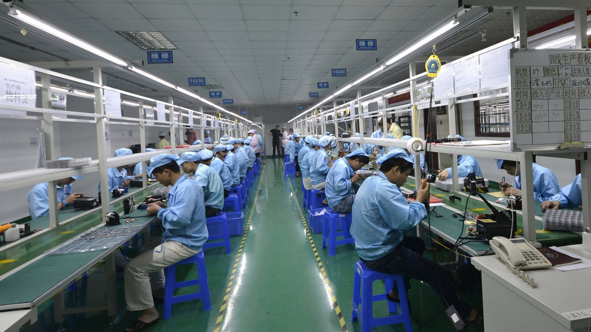Chinese factory workers in Shenzhen.