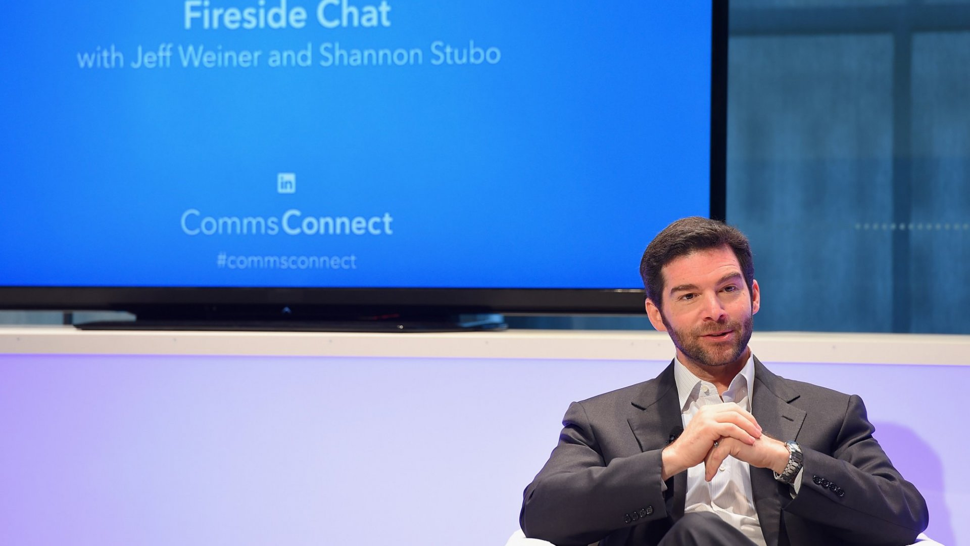 Jeff Weiner CEO, LinkedIn speaks onstage at LinkedIn's CommsConnect NY at Carnegie Hall on May 8, 2015 in New York City.
