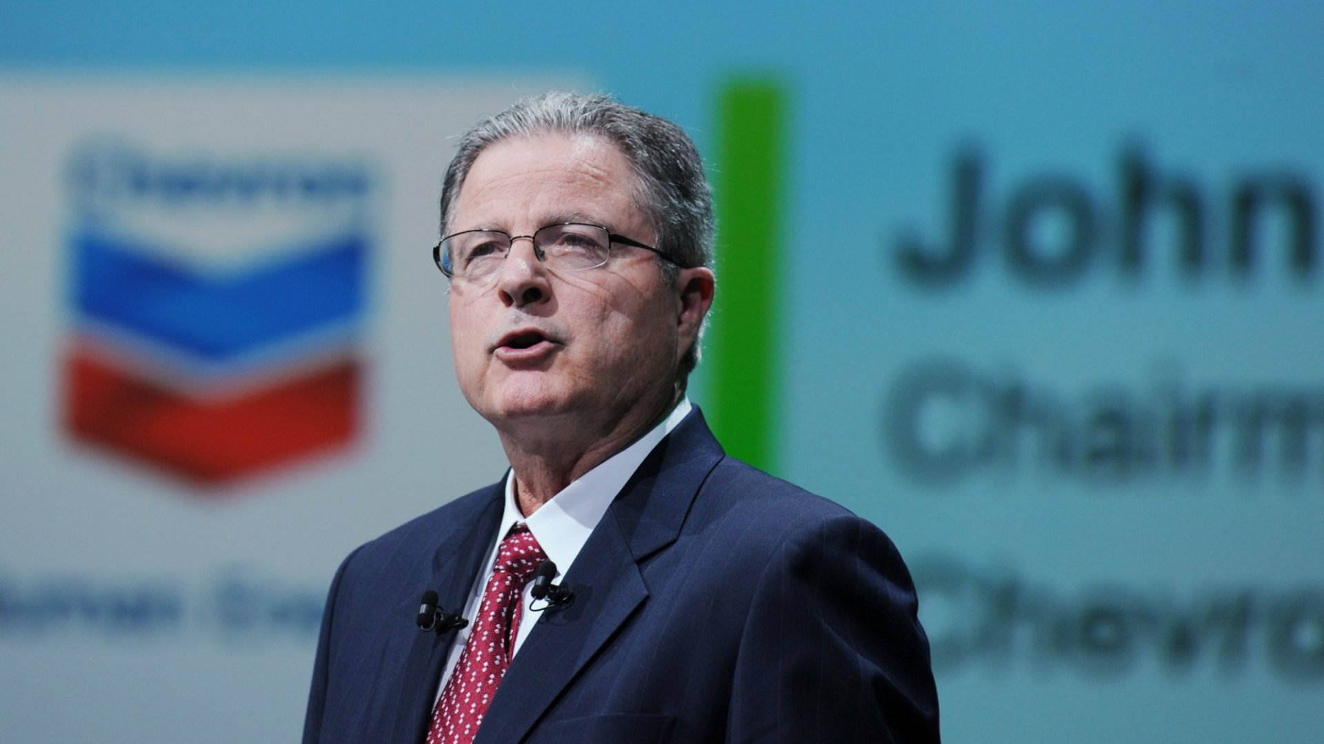 Chevron Chairman and CEO John Watson addresses a keynote speech during the World Gas Conference in Paris on June 2nd, 2015.