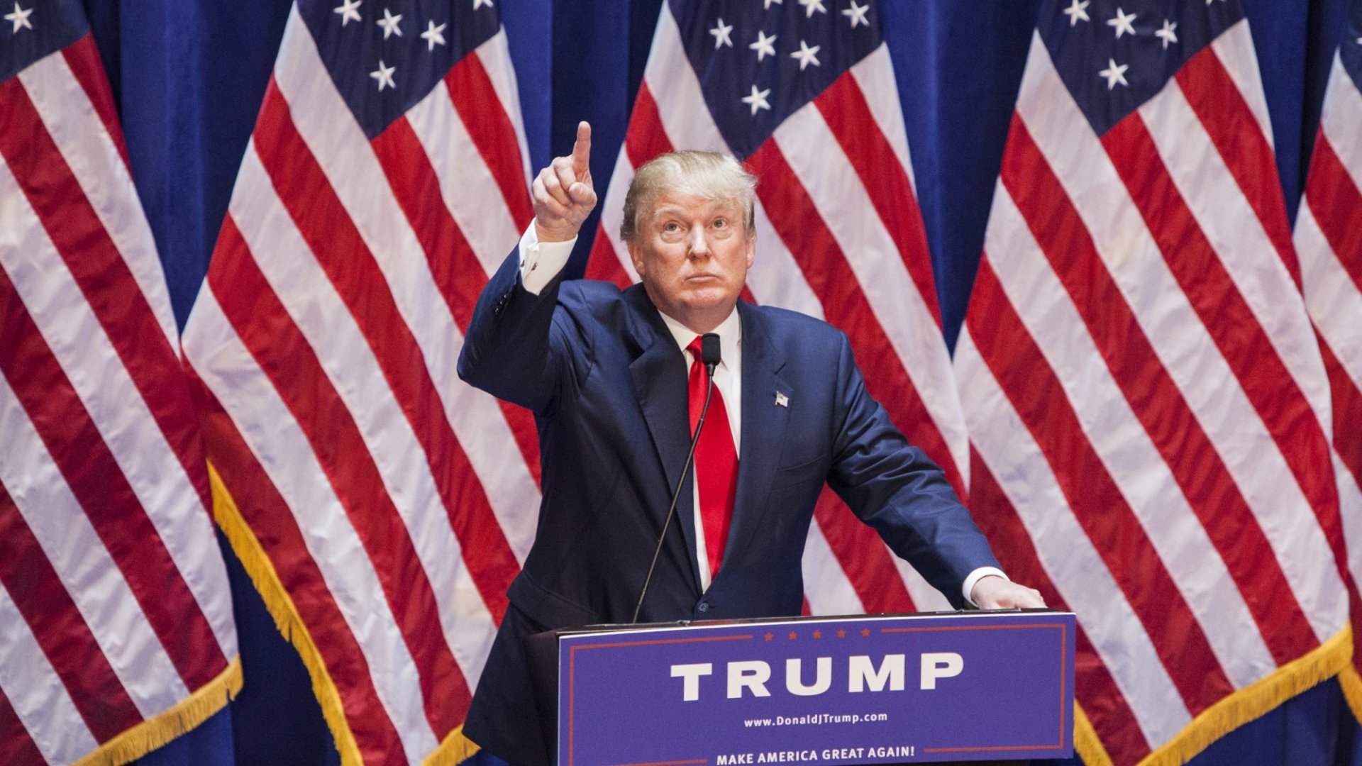 Real estate mogul Donald Trump currently leads among Republican challengers