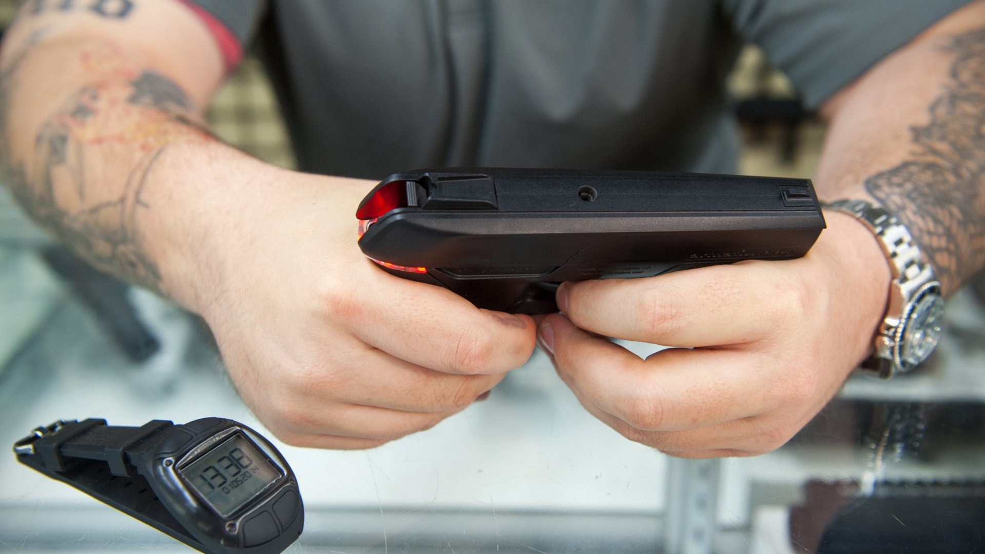 Armatix makes the iP1, a .22 caliber smart gun. The gun will not shoot unless the user is wearing the RFID watch.