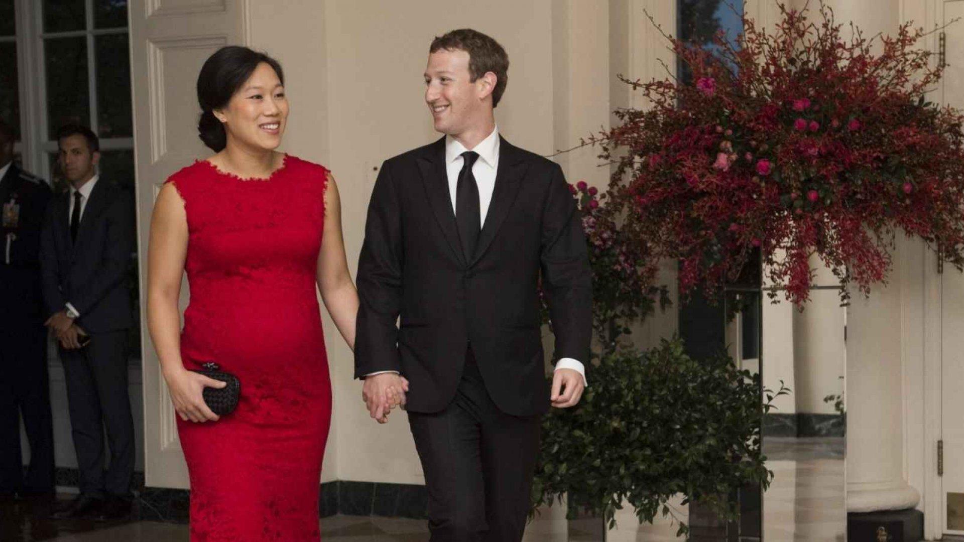 Facebook founder Mark Zuckerberg (right), and wife Priscilla Chan