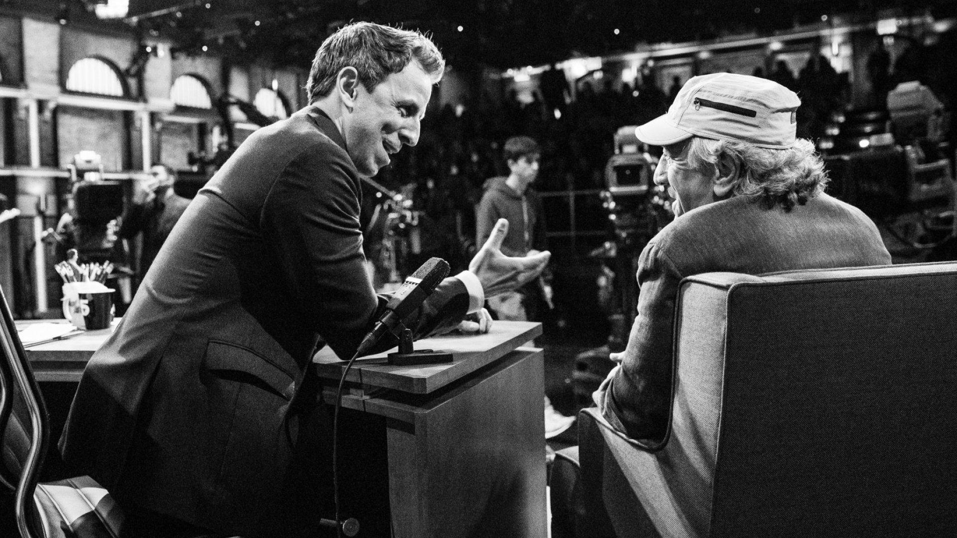 Seth Meyers (left) interviewing Robert DeNiro on <em>Late Night With Seth Meyers</em>.
