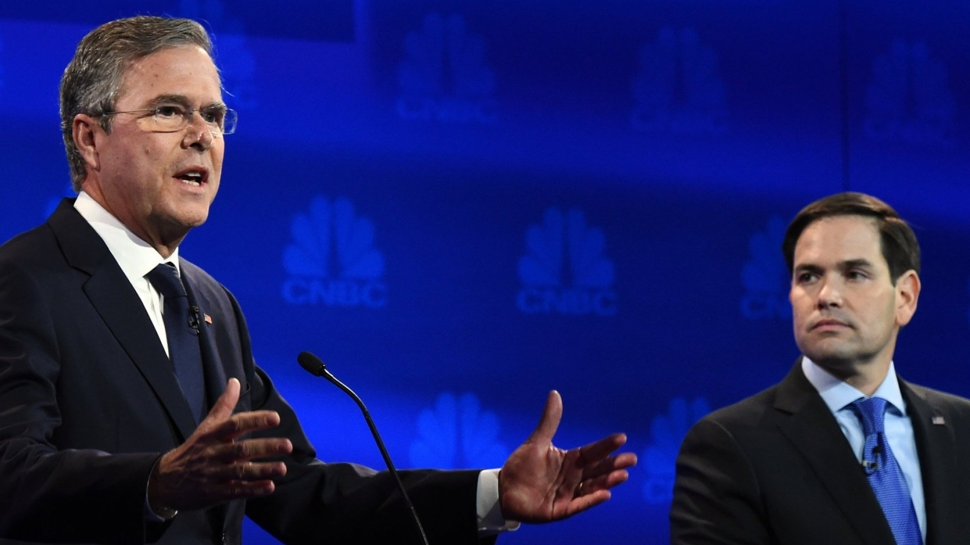 """Jeb Bush accused Marc Rubio of """"a French work week"""" in the October 28 debate."""