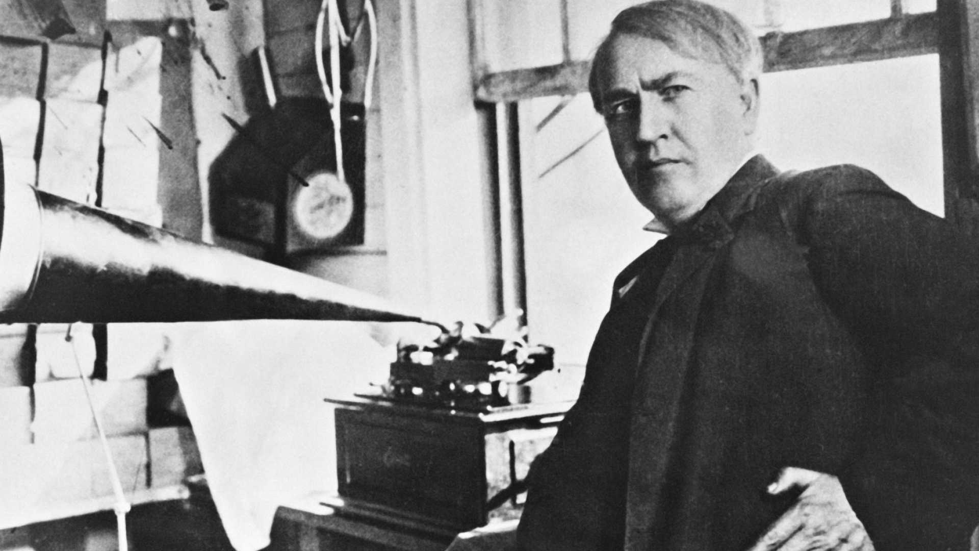 Thomas Edison with an early phonograph.