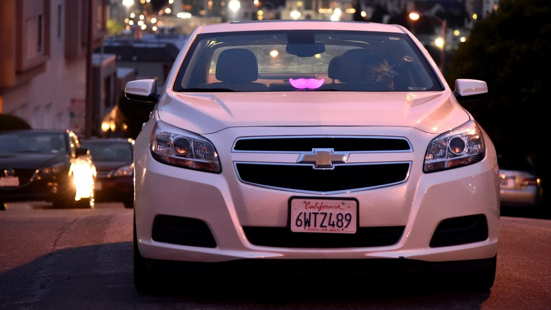 A Lyft driver on the streets of San Francisco.