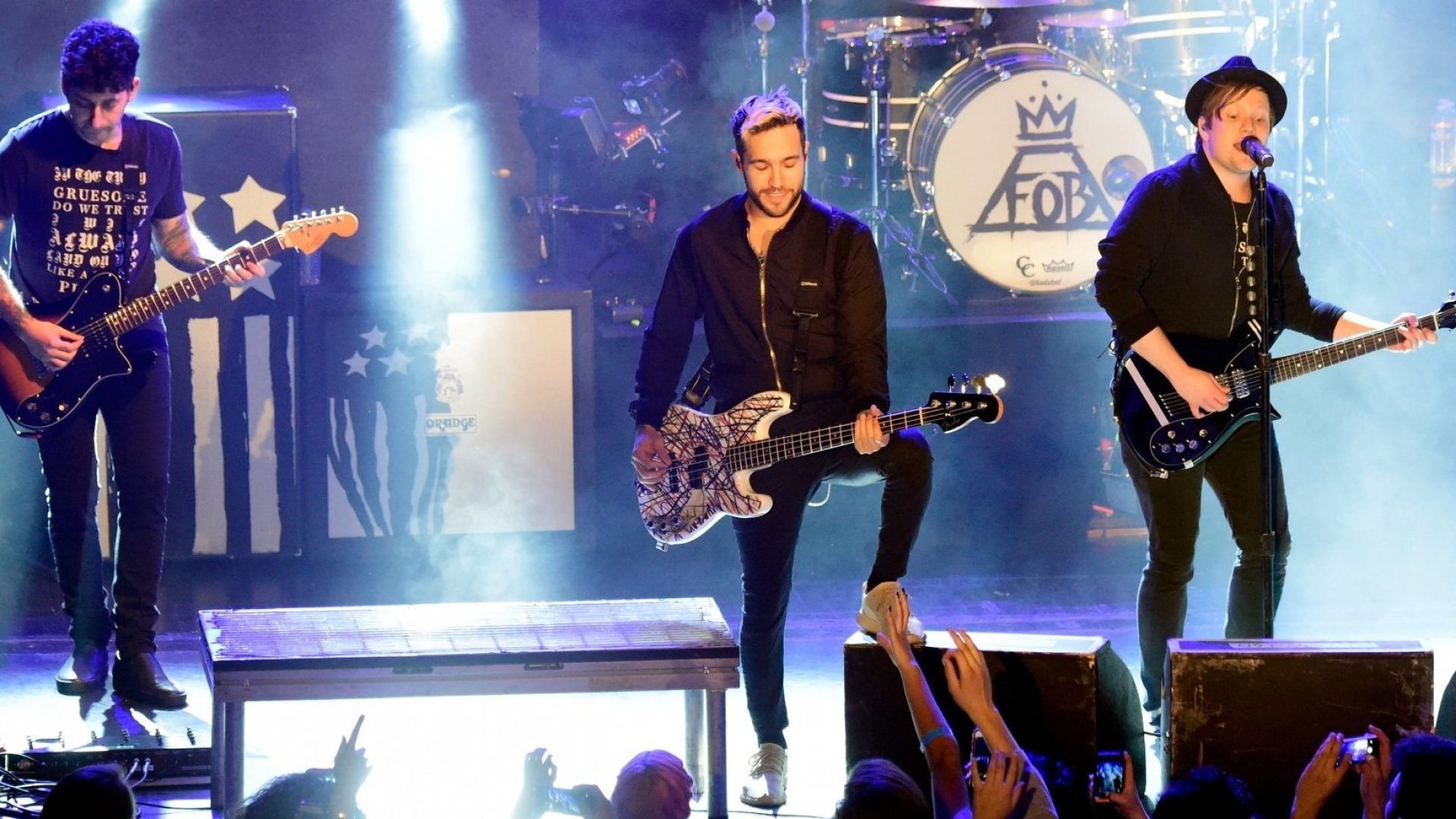 From left to right: Joe Trohman, Pete Wentz, and Patrick Stump of Fall Out Boy.
