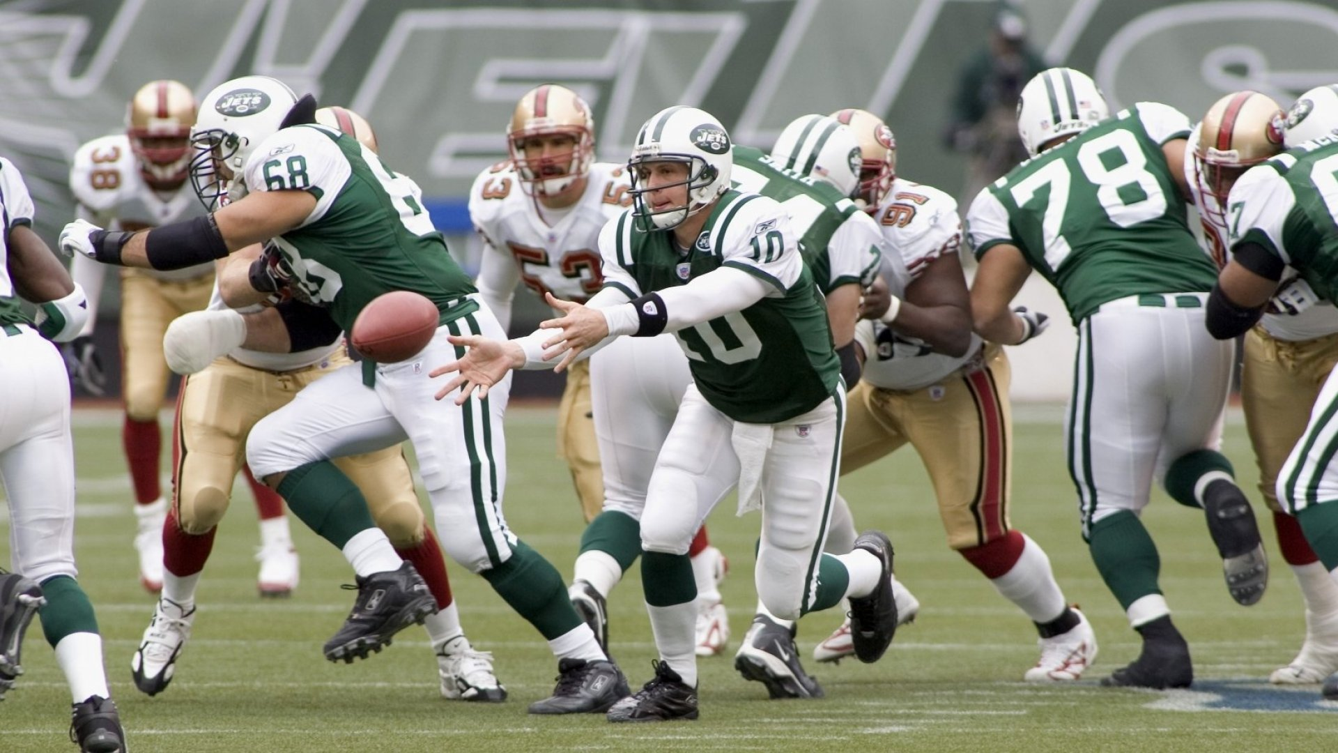 The New York Jets (in the foreground).