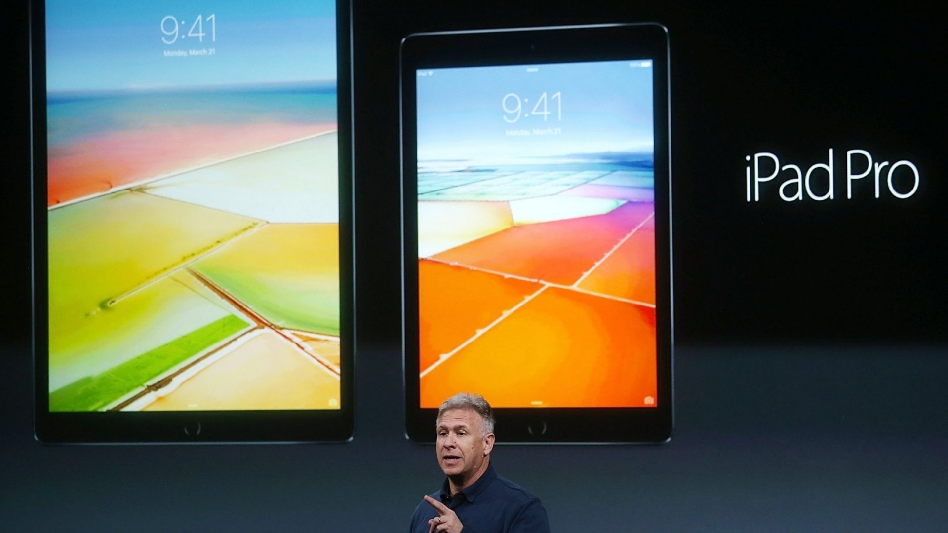 Apple SVP Phil Schiller announcing the 9.7-inch iPad Pro.