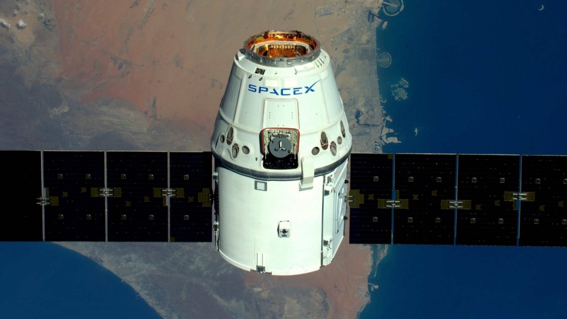 A shot of the SpaceX Dragon 1 taken from the International Space Station.