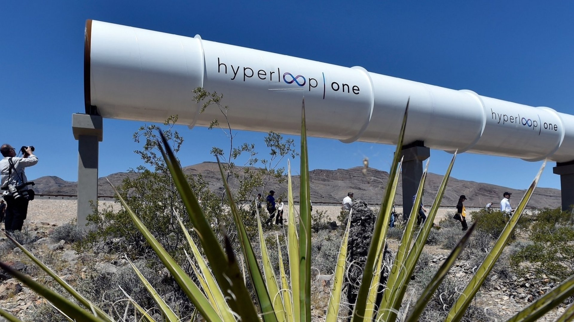 A Hyperloop One tube in North Las Vegas, Nevada.