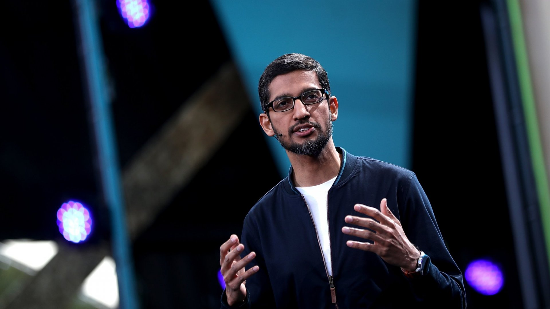 Google CEO Sundar Pichai speaks during Google I/O 2016 in Mountain View, California. (Photo by Justin Sullivan/Getty Images)