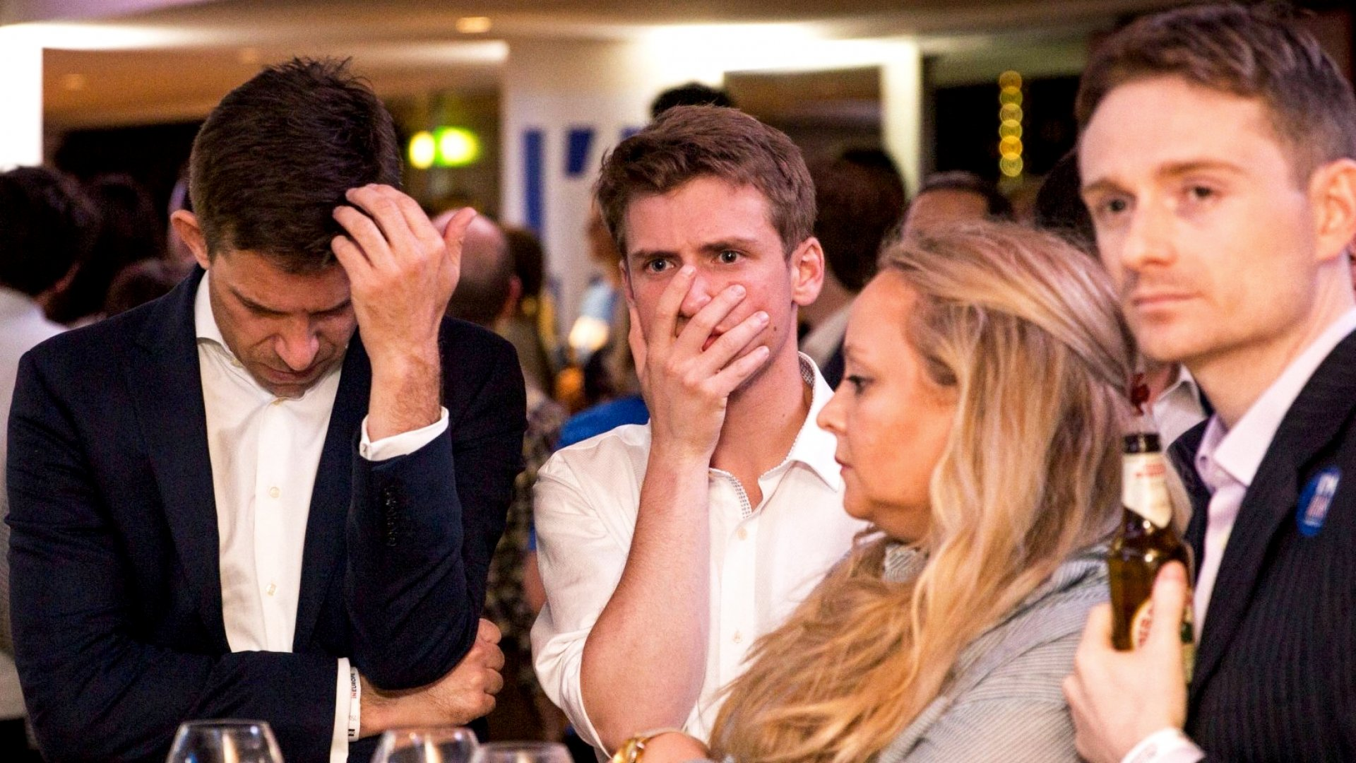 Supporters of the 'Stronger In' campaign react to results of the vote.