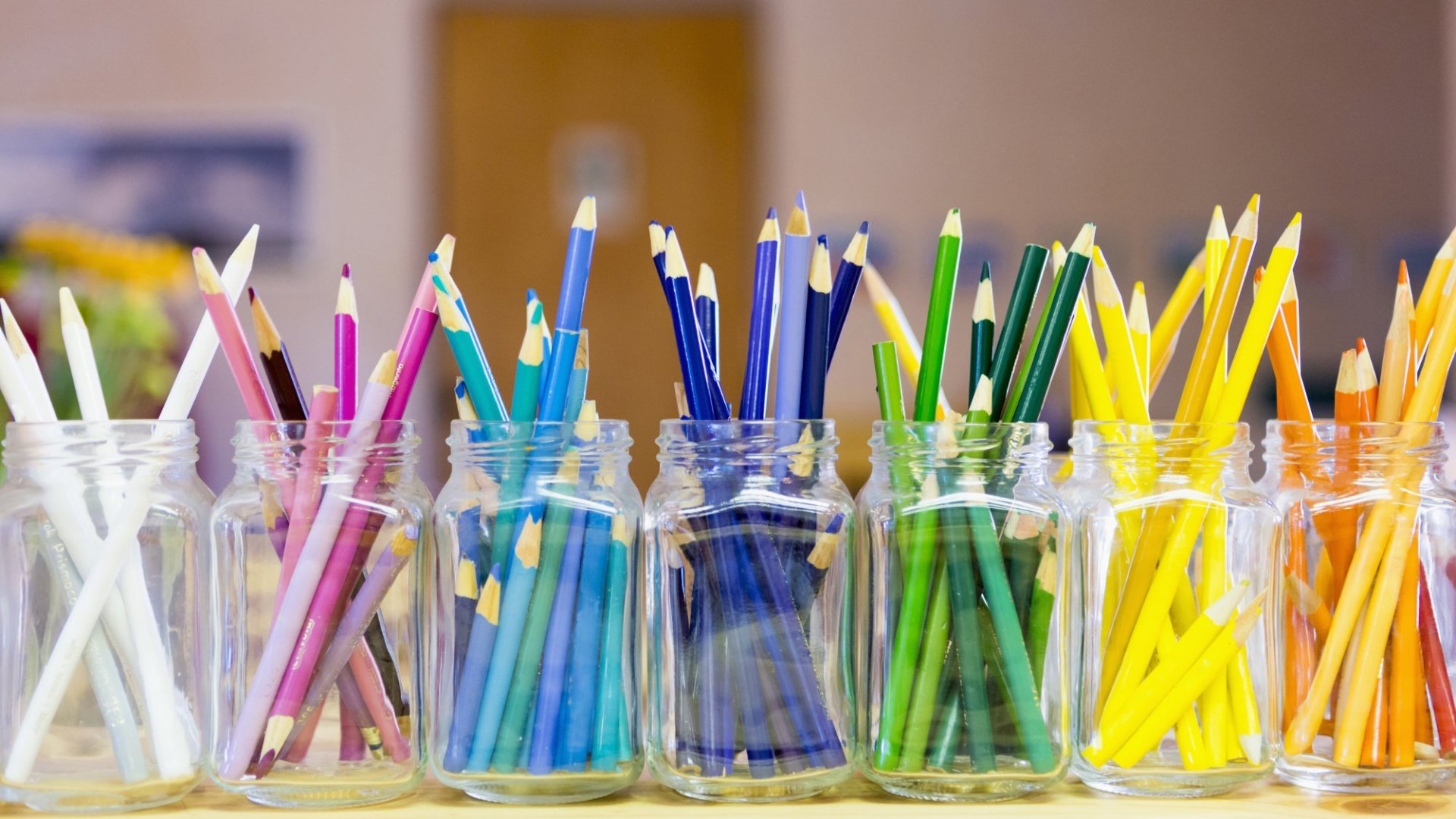 Every color pencil  has its own jar and home.