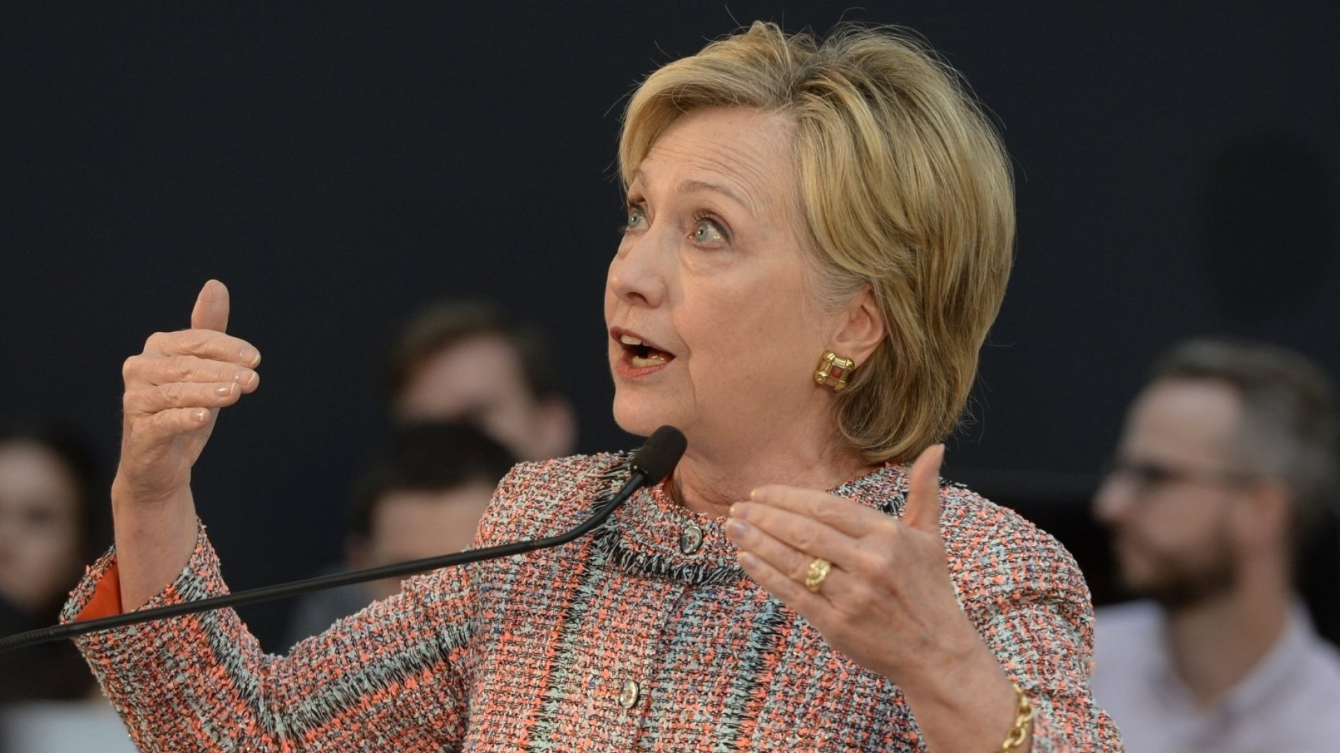 Hillary Clinton describes her technology initiative at startup incubator Galvanize.