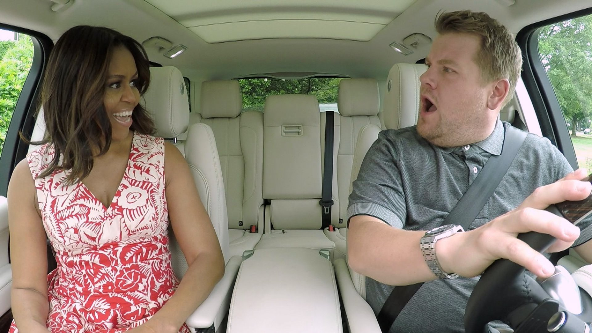 Michelle Obama with James Corden.
