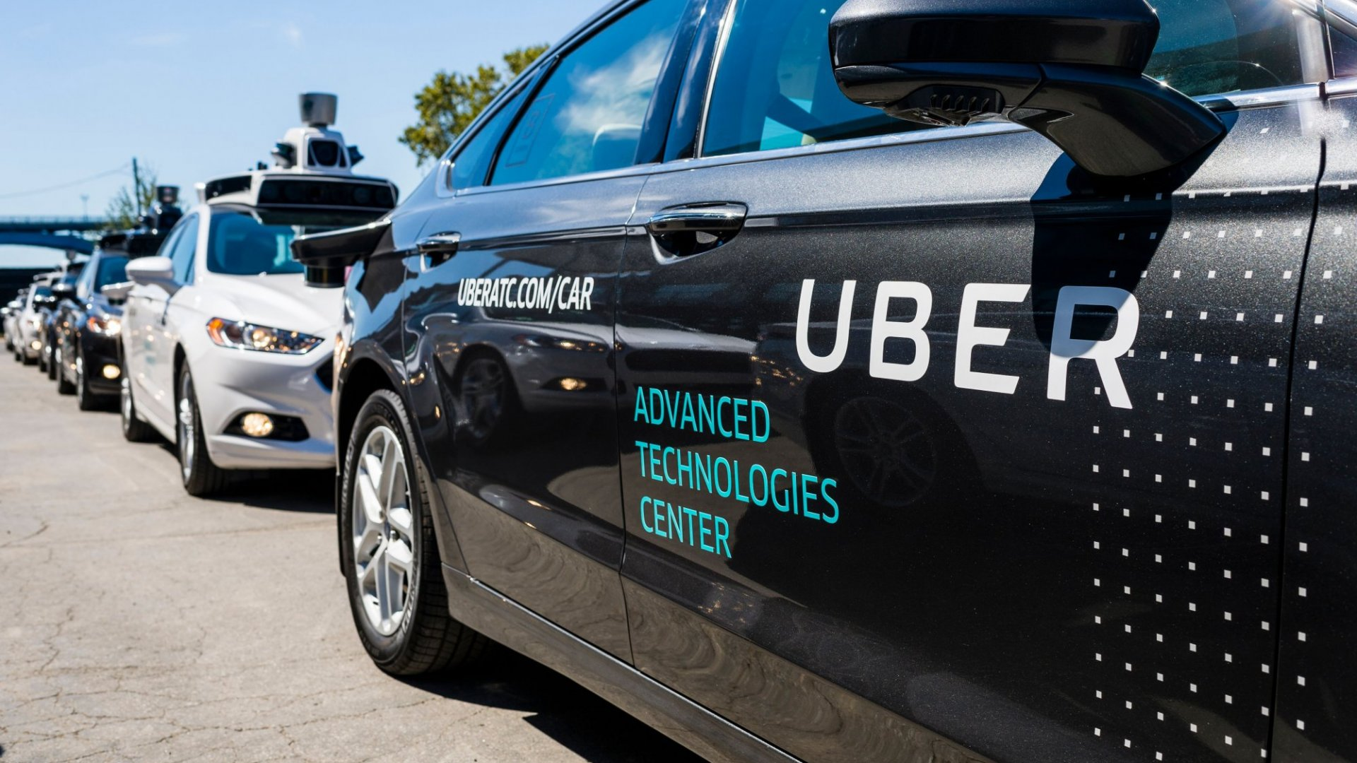 Pilot models of the Uber self-driving car on display at the Uber Advanced Technologies Center on September 13, 2016, in Pittsburgh. Uber launched a groundbreaking driverless car service, stealing ahead of Detroit auto giants and Silicon Valley rivals with technology that could revolutionize transportation.