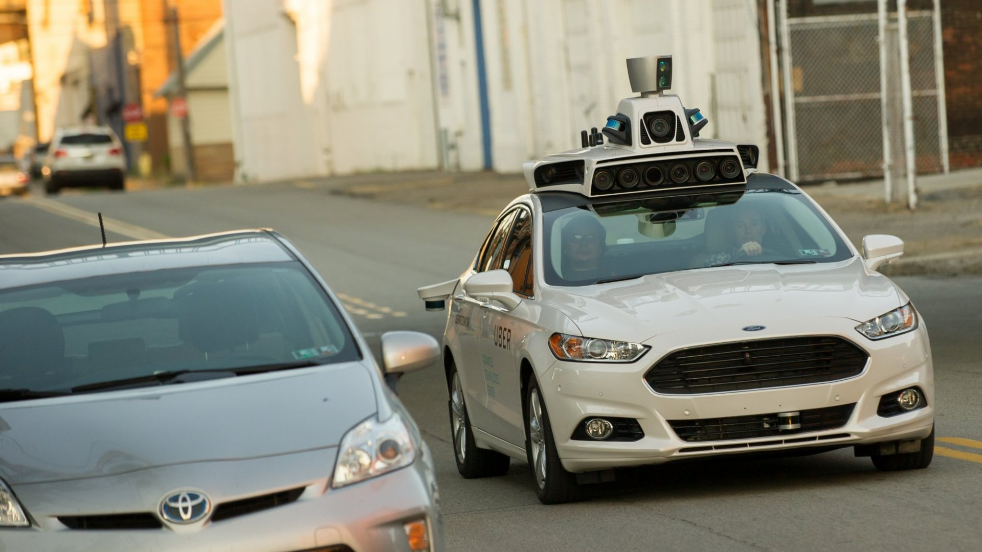 An autonomous Uber car in Pittsburgh.