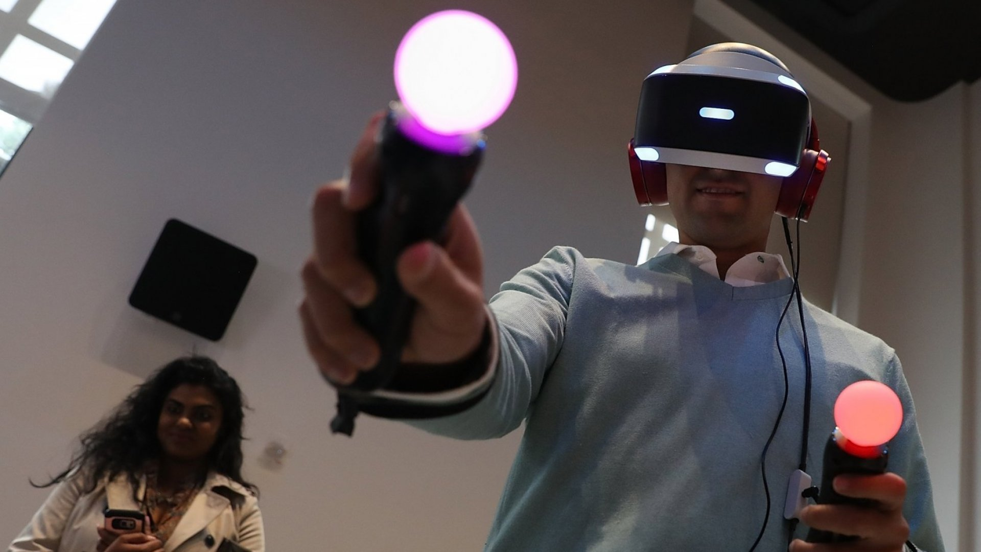 A customer tries the new PlayStation VR ($399) at Sony Square NYC on October 13, 2016. Sony launched its PlayStation VR that links to PlayStation 4 to give gamers a virtual reality gaming experience.