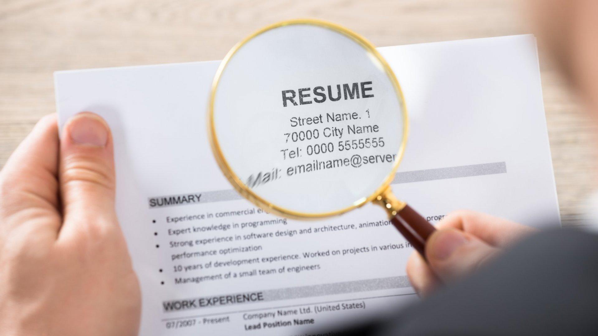 Closeup of a resume analysis