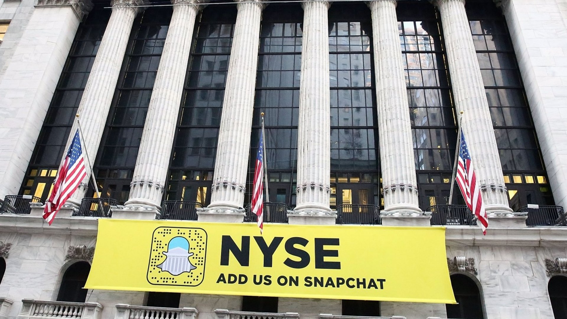 A Snapchat banner hangs from the New York Stock Exchange in Manhattan.
