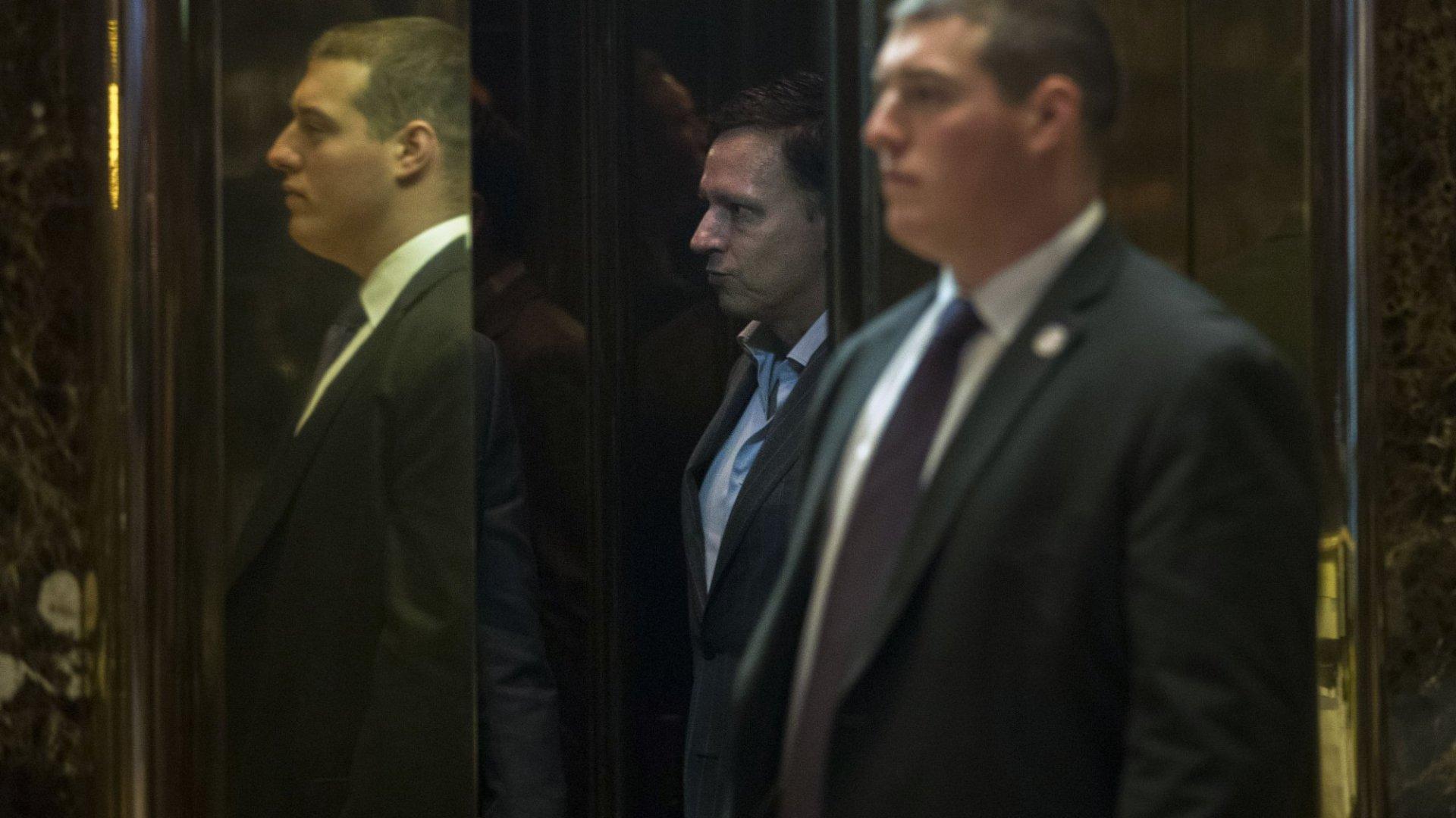Peter Thiel (in elevator).