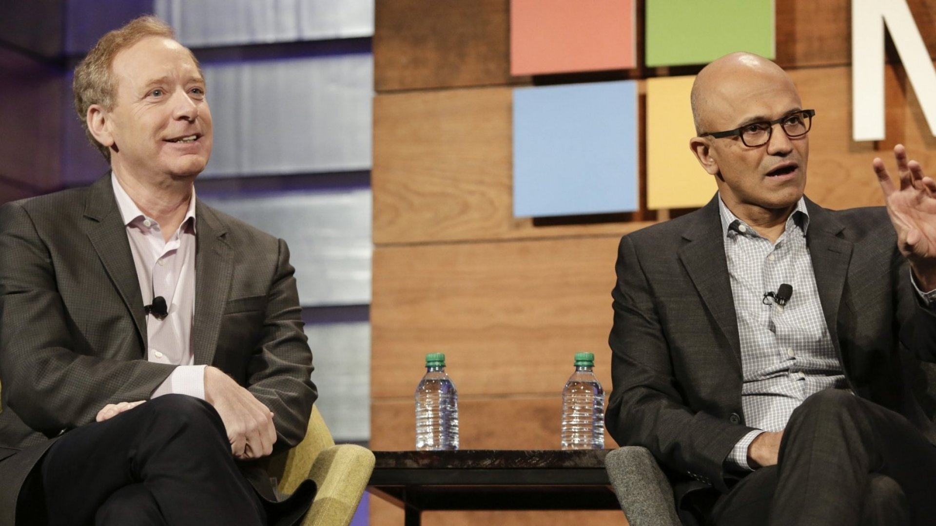 Microsoft President Brad Smith (L) with CEO Satya Nadella