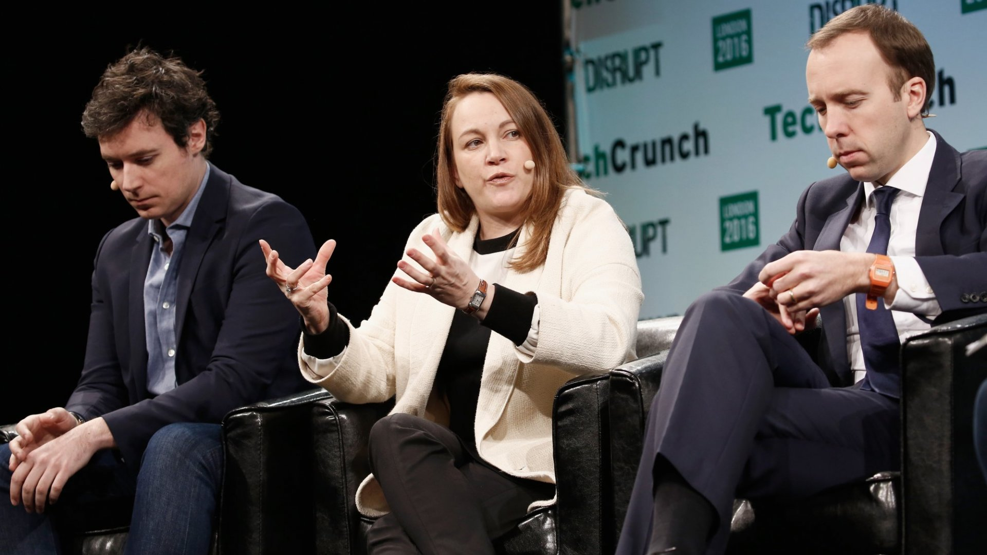 Axelle Lemaire (center), France's digital minister, speaking at a TechCrunch event.