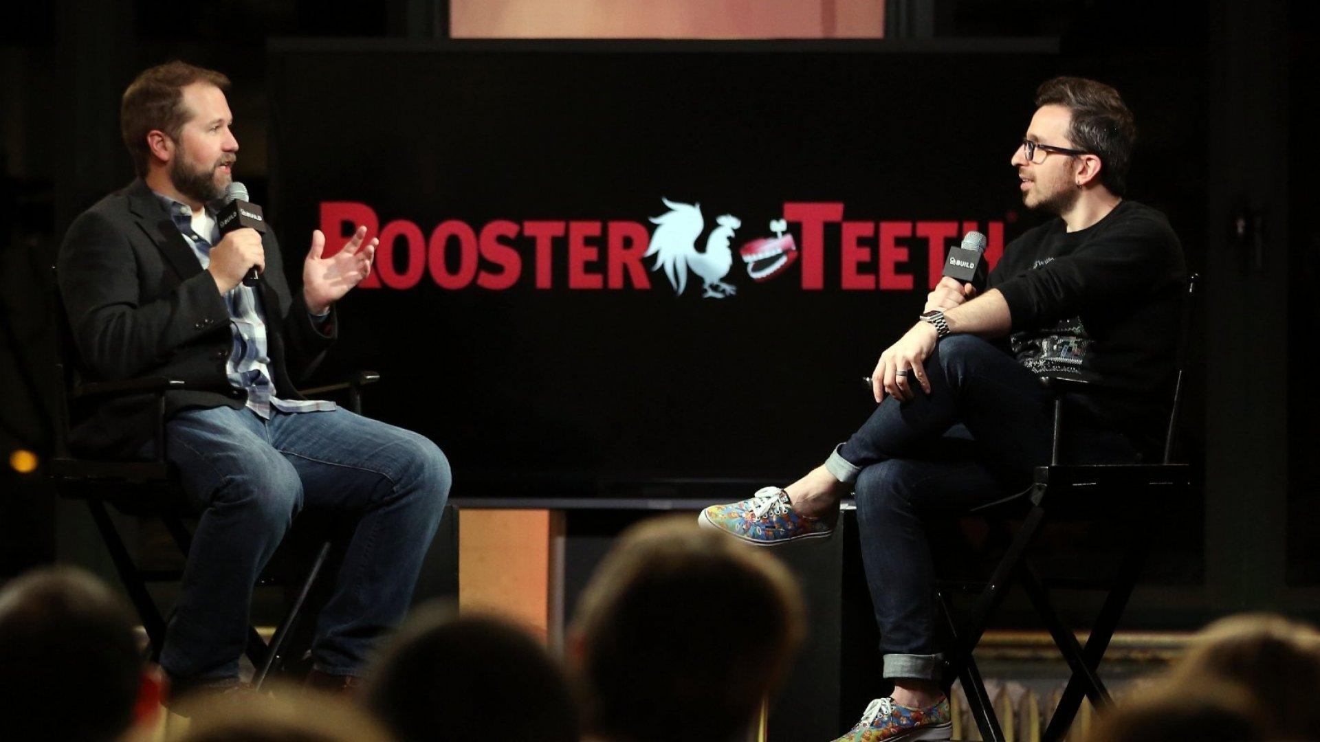 Matt Hullum (L) being interviewed by Matt Forte at AOL Build conference.