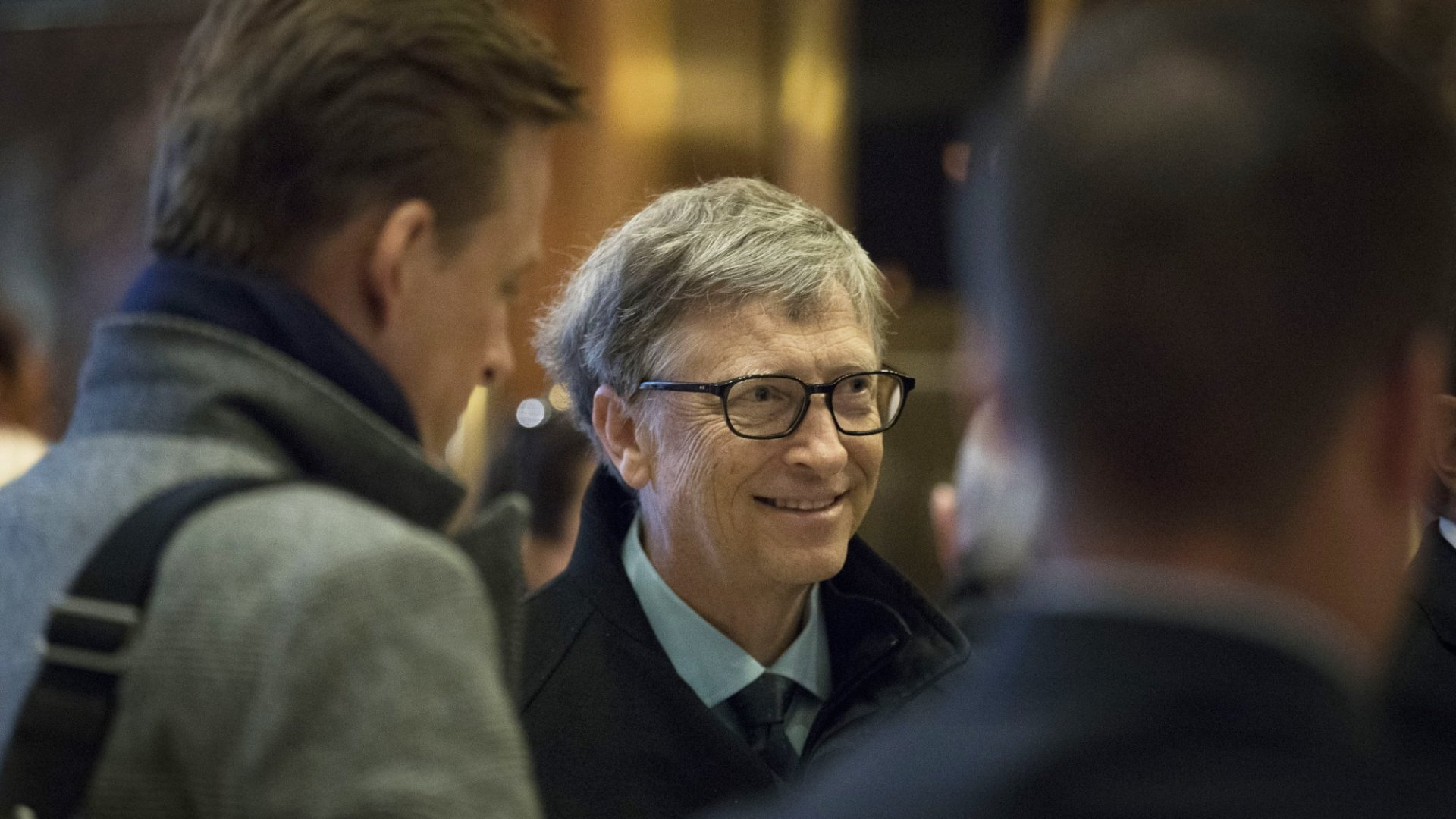 Bill Gates arrives at Trump Tower for a meeting with Donald Trump.