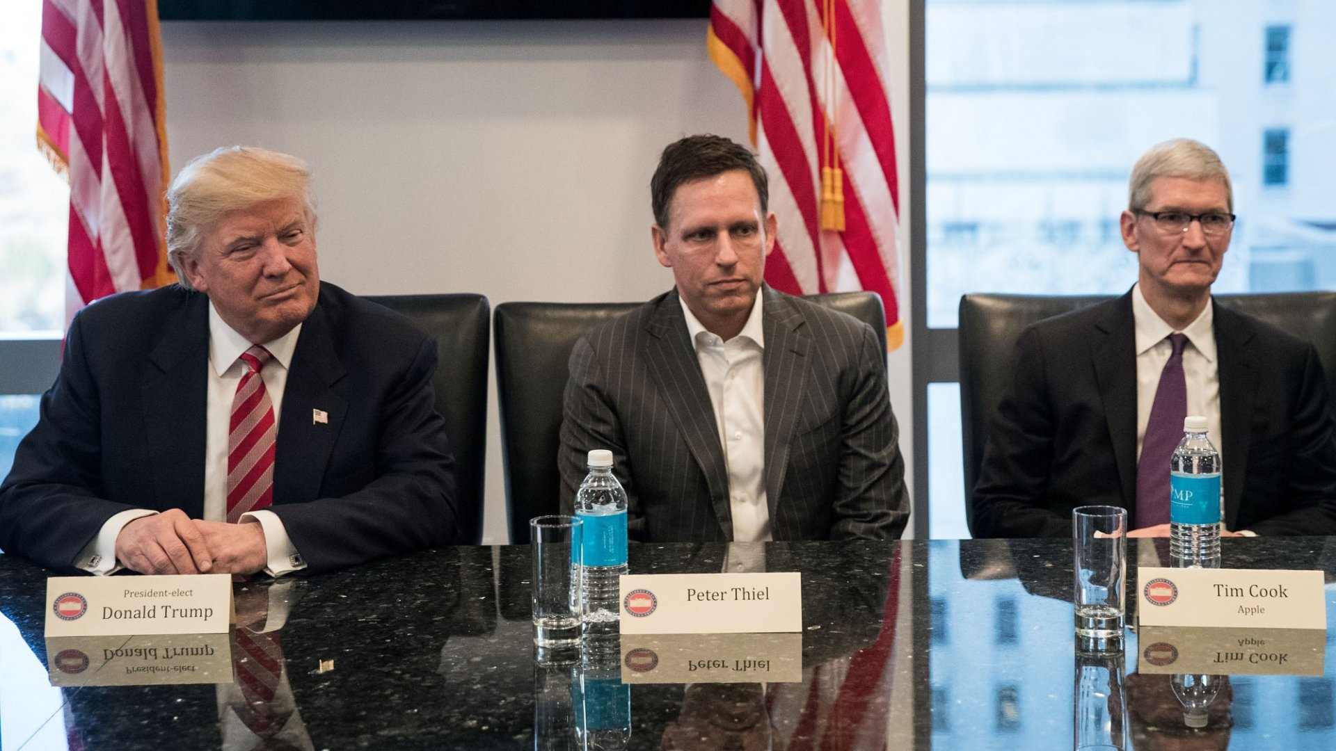 President Donald Trump, Peter Thiel, and Tim Cook.