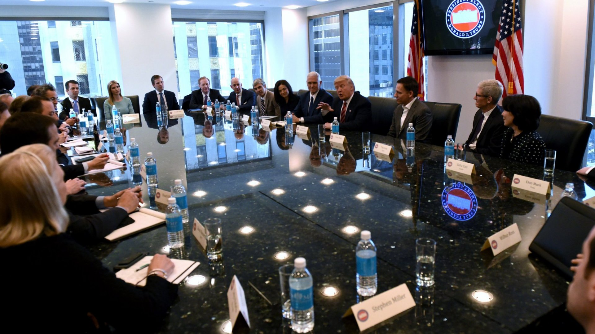 Tech CEO's meet with President-elect Donald Trump at Trump Tower on December 14, 2016 In New York.