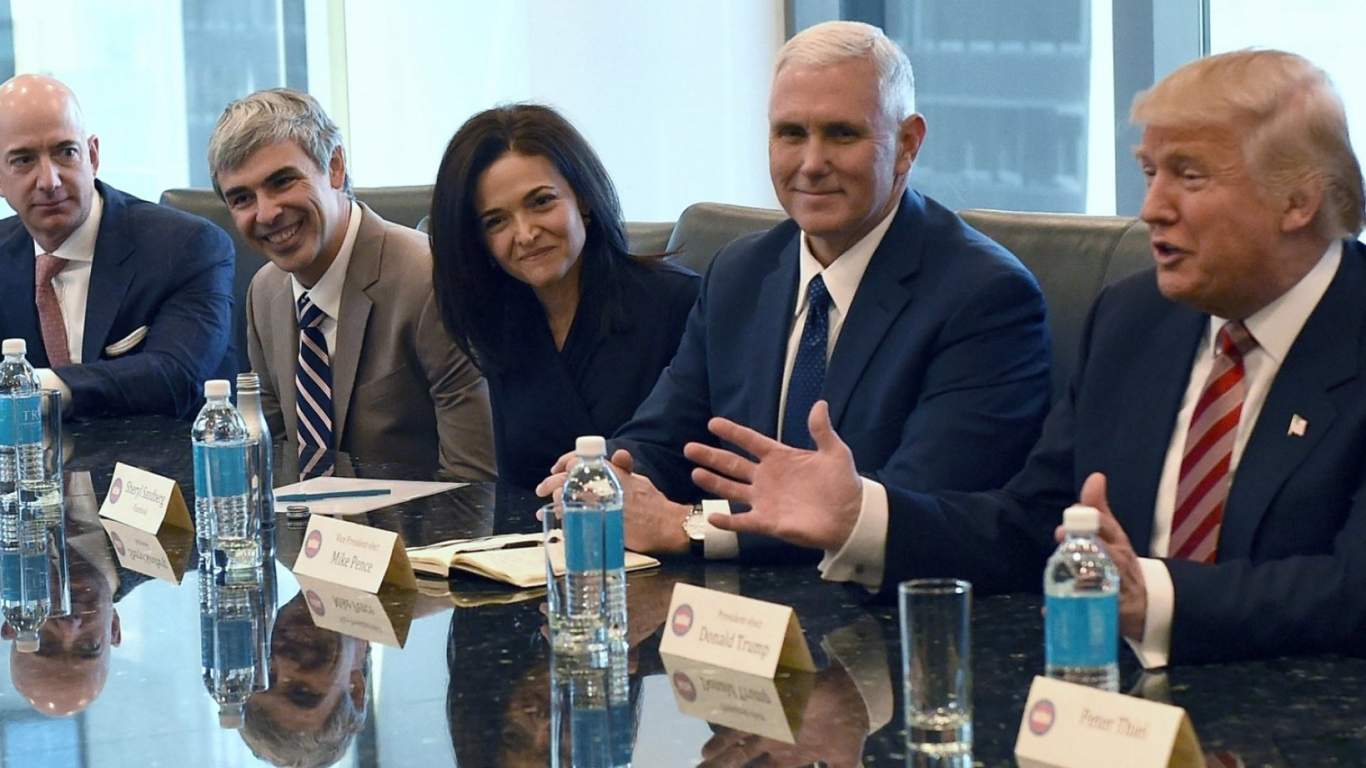 Amazon's chief Jeff Bezos (left), Larry Page of Alphabet, Facebook COO Sheryl Sandberg, Vice President-elect Mike Pence and President-elect Donald Trump at Trump Tower December 14, 2016.